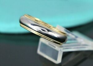 $2,125 Tiffany & Co Platinum 18K Yellow Gold 6mm Double Milgrain Wedding Band 10