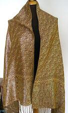 echte Pashmina Stola in Braun-ockergelb mit silberfarbenen Metallfäden