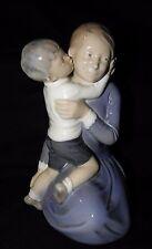 """ROYAL COPENHAGEN DENMARK #3457 BOY HUGGING & KISSING HIS MOM~8 1/4"""" TALL~"""