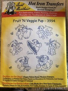 Aunt Martha's 3994 Fruit 'N Veggie Pup Iron On Transfers New Uncut