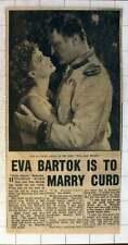 1954 Eva Bartok Is To Marry Curd Jurgens