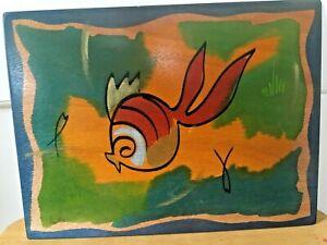 "Vintage Kakadu Hand Painted Fish Original Placemat Art Wood Signed ~15.75x11.75"""