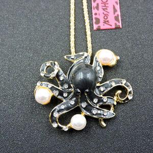 Black Enamel Crystal Cute Pearl Octopus Pendant Betsey Johnson Necklace/Brooch