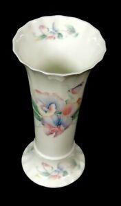 Aynsley 6in Little Sweetheart bud vase 6 in pink flowers embossed scalloped rim