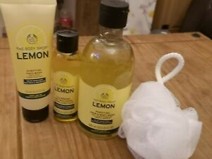 The Body Shop NEW Lemon Hair & Body Wash, Face Wash , Anti Bac Sanitizer Bundle