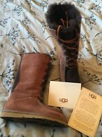 Ladies Lovely UGG Australia Fur Lined Leather Boots Brown UK 4-5 Worn Once