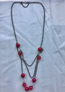 Costume jewellery red bead and chain necklace 34 inch