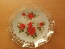 Vintage Glass Cake Plate, Floral Red Roses Design Boxed.