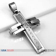Men's Silver Stainless Steel Punk Heavy Duty Big Large Cross Pendant Cool P64