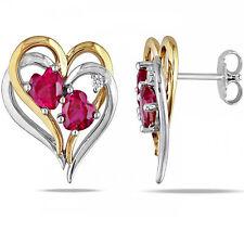 Echter Edelsteine-Ohrschmuck aus Sterlingsilber mit Herz und Butterfly-Verschluss für Damen