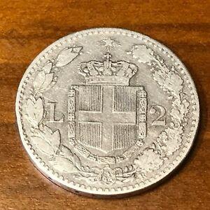 MONETA COIN REGNO D'ITALIA RE UMBERTO I° SAVOIA 2 LIRE 1883  ARGENTO GR 10