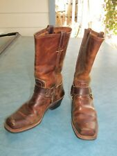 FRYE Women's Dk. Brown Leather Harness Biker Boots 77300  9M  USA Distressed