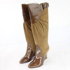 Loewe Madrid Femmes Bottes Chaussures 37 Marron Cuir Verni Kniehoch Cuir Np 680