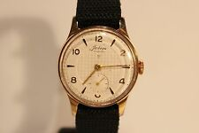 """VINTAGE USSR RUSSIA EARLY GOLD PLATED SUB SECOND MEN'S WATCH""""POBEDA""""/RELIEF DIAL"""