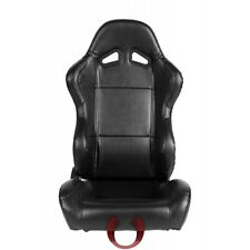 UNIVERSAL FIT BLACK LEATHERETTE CIPHER AUTO RACING SEATS - SET PAIR