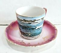 ANTIQUE SURF AT HAMPTON BEACH NH SOUVENIR DEMITASSE CUP & SAUCER MADE IN GERMANY
