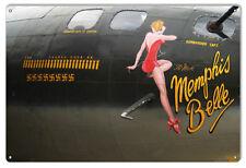"""Nose Art Memphis Belle Reproduction Aviation Sign 12""""x18"""""""