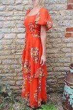 Vintage 1960s Simon Ellis Orange Rainbow Floral Boho Hippie Maxi Dress S