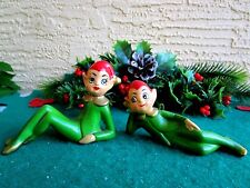 VINTAGE 2 ELF/PIXIE CERAMIC GREEN OUTFITS & RED HAT CHRISTMAS ORNAMENTS