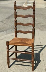 """Antique Handmade 42"""" Turned Maple Wood Rush Seat Ladder Back Dining Sewing Chair"""