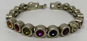 Vintage Signed Patricia Locke Multi Color Swarovski Crystal Tennis Bracelet