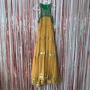Womens Free People Gold + Green Crown Jewel Embellished bohemian maxi dress XS