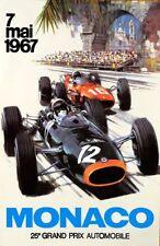 VINTAGE 1967 Sports Car Monaco Grand Prix MOTOR RACING POSTER A4 RISTAMPA