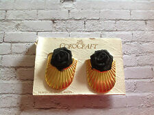 Vintage gold tone shell shape COROCRAFT earrings with black roses