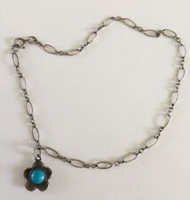 """VINTAGE STERLING SILVER 10"""" ANKLET W/ STERLING SILVER & TURQUOISE FLOWER CHARM"""