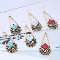 Vintage Turquoise Alloy Drop Dangle Bohemian Hook Earrings Women Wedding Jewelry