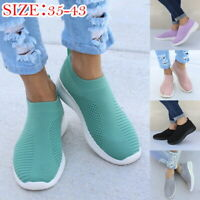 Womens Casual Mesh Sock Flat Shoes Slip On Comfy Pumps Trainers Sneakers Size SH
