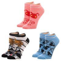 3 Kingdom Hearts Adult Ankle Socks Set Sora Disney Video Game Mickey Women's NEW