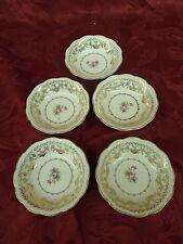 """STETSON American Beauty gold trim Dessert Fruit Bowl 22kt 5.25"""" Diameter Set 5"""