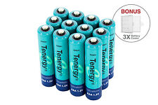 Combo: 12 pcs Tenergy AAA NiMH 1000mAh Rechargeable Batteries + 3 cases
