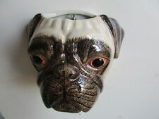 Fabulous Large Pug Dog Wall Vase/ Planter By Quail Pottery Boxed Great Gift