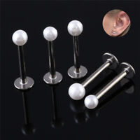 Stainless Steel Pearl Barbell Cartilage Tragus Helix Stud Bar Earring Piercin №Y