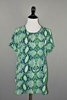 OLIVACEOUS NEW $69 Women's Green Python Print Blouse Medium
