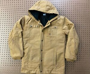 BOYS XL(18-20) - Carhartt Duck Flannel Quilted Lined Hooded Zip Coat Jacket
