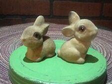 Vintage Flocked Two Rabbit Figurines