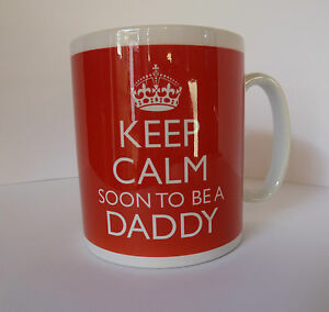 Keep Calm Soon To Be a Mum Dad Daddy Mummy New Baby Gift Mug Cup Carry On Style