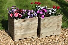 SQUARE LARGE WOODEN GARDEN PLANTER TROUGH IN DECKING X2 PLANT POT *FREE LINING*