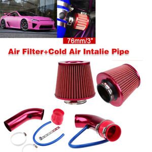 3'' Universal Auto Car Cold Air Intake Filter Aluminum Induction Hose Pipe Kit Q