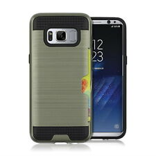 Samsung Galaxy S8 Credit Card Slot Dual Layer Hybrid Hard Armor Shockproof Case