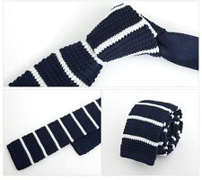 "Men 2"" Knit Knitted Slim Flat Tie Skinny Narrow Necktie Navy Blue White Stripe"