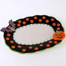 Grand Céramique Chauve-souris D'Halloween Motif Citrouille Assiette NEUF