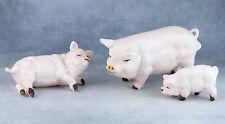 Vintage Bone China Miniature Set of 3 Family Pig Figurines Japan Matte Finish