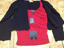 Womens 3 Piece Set Cute Sz M+earrings Black&Red solid Tank&Shrug special lovely!