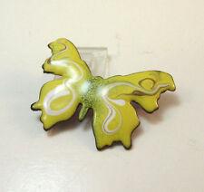 Yellow Glazed Enamel Coating * Vintage Copper Butterfly Pin W/