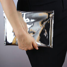 Mirror Silver Metallic pad Case Envelope Clutch Shine Leather PU Purse Pouch Bag