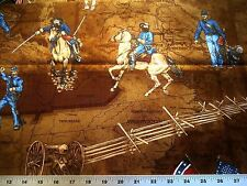 Civil War Soldier's Story Yankee & Confederate Fighting On Horses Cotton Fabric